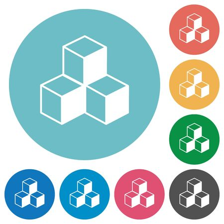 viewpoints: Cubes white flat icons on color rounded square backgrounds