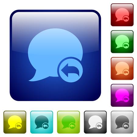 Répondre blog de verre commentaire couleur arrondi bouton carré ensemble