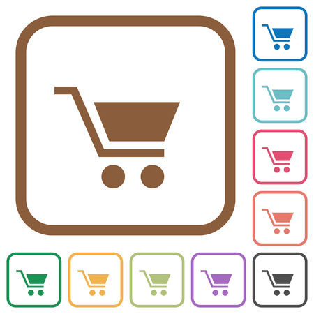 naught: Empty cart simple icons in color rounded square frames on white background Illustration