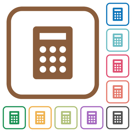 subtract: Calculator simple icons in color rounded square frames on white background Illustration