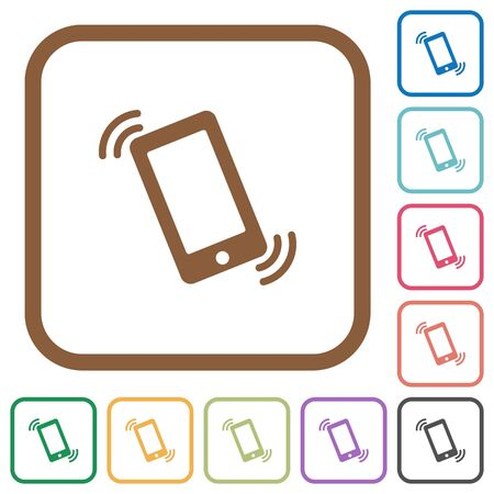 ringing phone: Ringing phone simple icons in color rounded square frames on white background