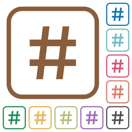 hash: Hash tag simple icons in color rounded square frames on white background