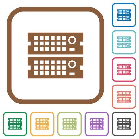 Rack servers simple icons in color rounded square frames on white background Vector Illustration