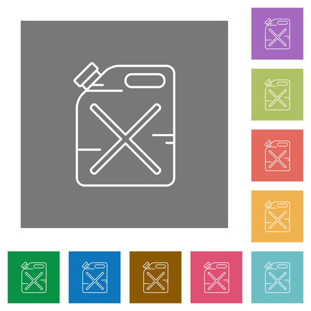 gas can: Gas can flat icons on simple color square background. Illustration