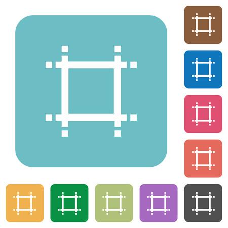 shrink: Adjust canvas size flat icons on simple color square background. Illustration