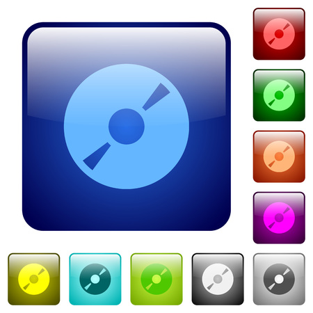 dvdr: DVD disk color glass rounded square button set