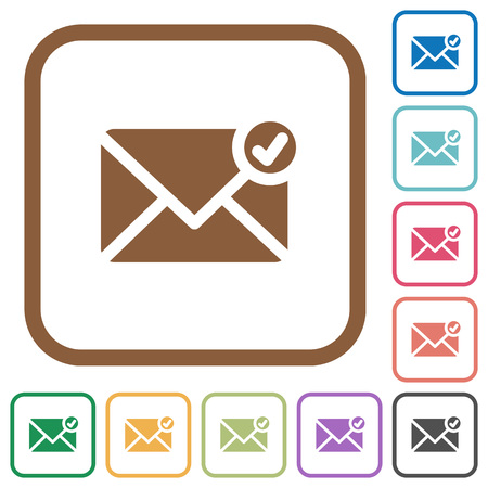 sent: Mail sent simple icons in color rounded square frames on white background Illustration