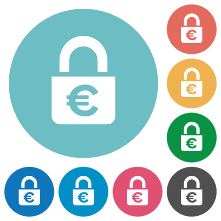Locked euros white flat icons on color rounded square backgrounds