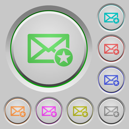 marked: Marked mail color icons on sunk push buttons Illustration