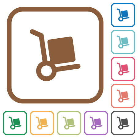 package deliverer: Hand truck simple icons in color rounded square frames on white background Illustration