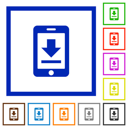 Mobile Download Flat Color Icons In Square Frames Royalty Free ...