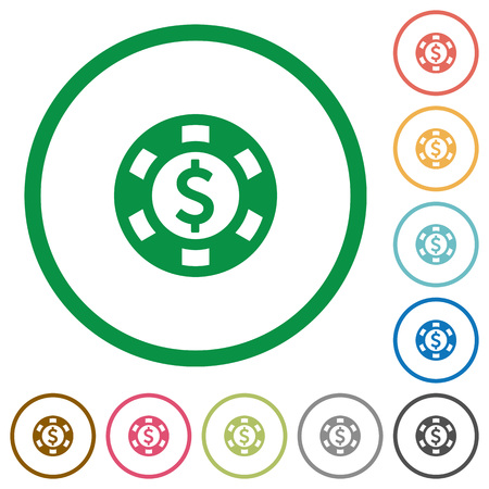 american roulette: Dollar casino chip flat color icons in round outlines