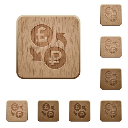 Pound Rubel-Wechsel Symbole in geschnitzten Holzknopfarten