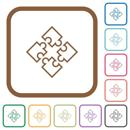 Puzzle pieces simple icons in color rounded square frames on white background Illustration