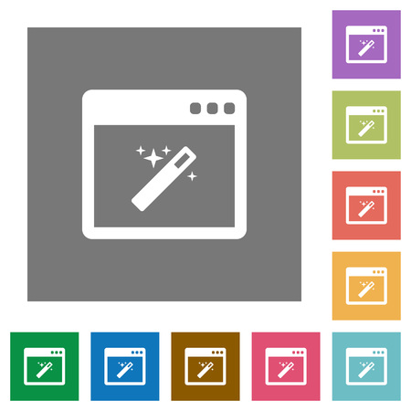 Application wizard flat icons on simple color square background.