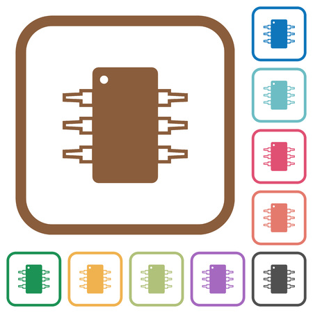 integrated circuit: Integrated circuit simple icons in color rounded square frames on white background