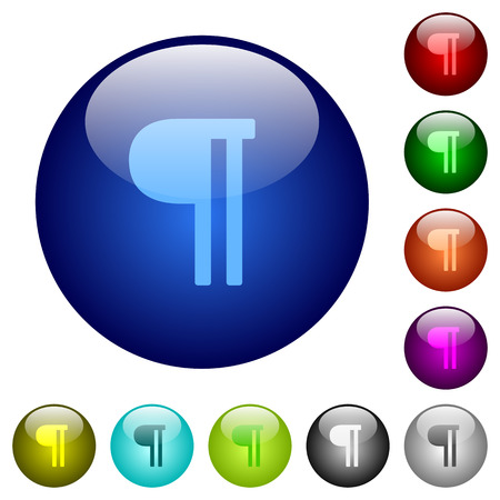 Text paragraph icons on round color glass buttons