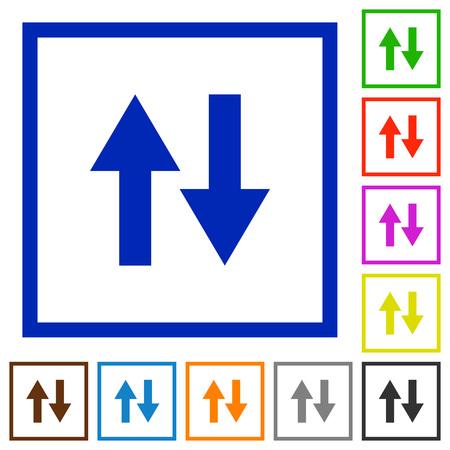 kilobyte: Data traffic flat color icons in square frames Illustration