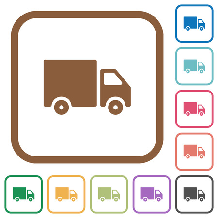 shipper: Delivery truck simple icons in color rounded square frames on white background