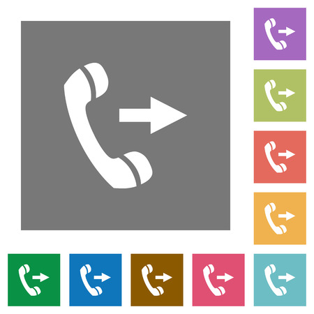 outgoing: Outgoing call flat icons on simple color square background. Illustration
