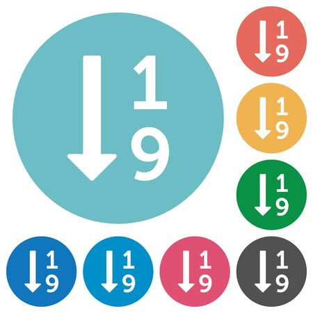 listing: Ascending numbered list white flat icons on color rounded square backgrounds