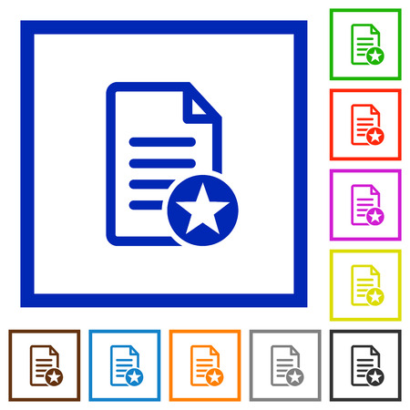 marked boxes: Favorite document flat color icons in square frames
