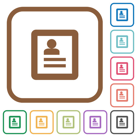 datasheet: User profile simple icons in color rounded square frames on white background