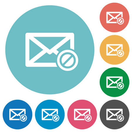 undesirable: Blocked mail white flat icons on color rounded square backgrounds