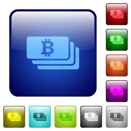 plenty: Bitcoin banknotes color glass rounded square button set Illustration