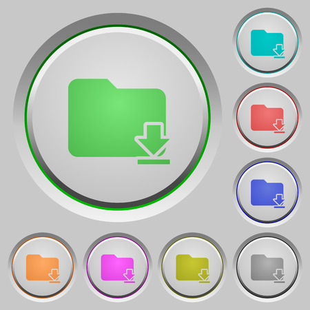 download folder: Download folder color icons on sunk push buttons
