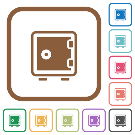 strong box: Strong box simple icons in color rounded square frames on white background Illustration