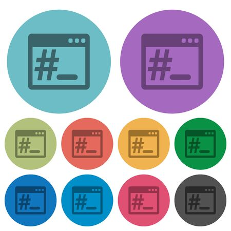 os: OS root terminal flat color icons in round outlines