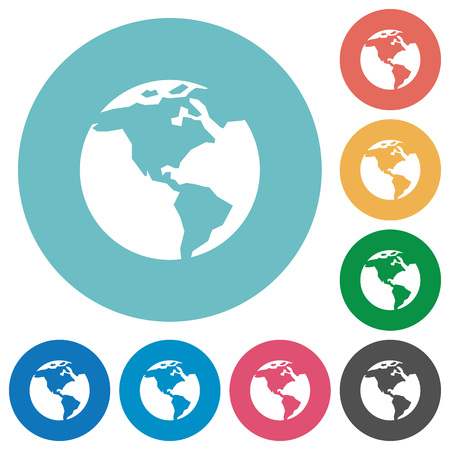 flat earth: Earth white flat icons on color rounded square backgrounds Illustration