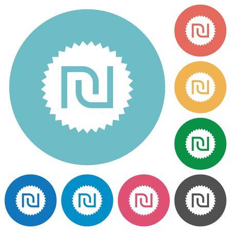 israeli: Israeli new Shekel sticker white flat icons on color rounded square backgrounds