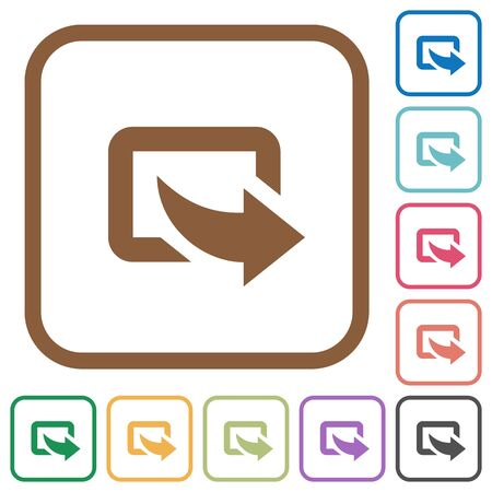 curved: Export simple icons in color rounded square frames on white background