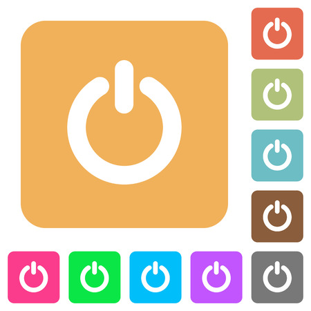 poweron: Power switch icons on rounded square vivid color backgrounds.