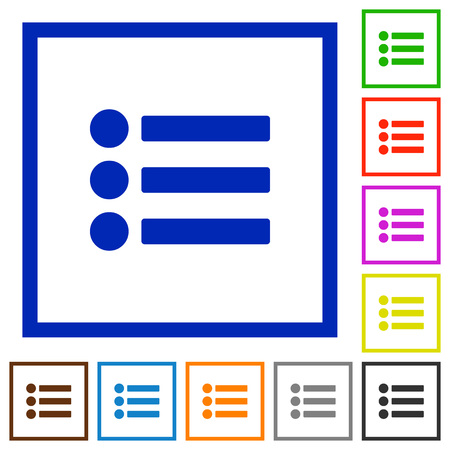 disordered: Bullet list flat color icons in square frames Illustration