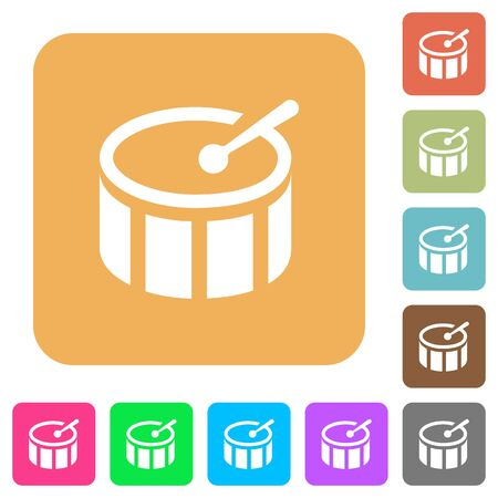 tact: Drum icons on rounded square vivid color backgrounds. Illustration