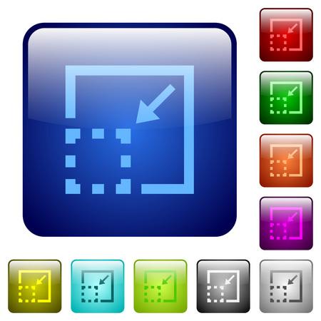 minimize: Minimize element color glass rounded square button set