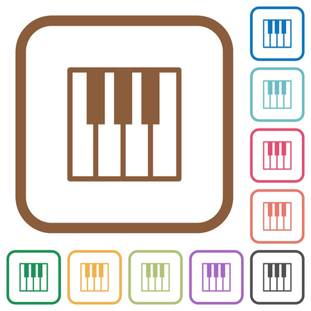 tact: Piano keyboard simple icons in color rounded square frames on white background Illustration