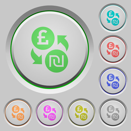 foreign exchange rates: Pound Shekel exchange color icons on sunk push buttons Illustration