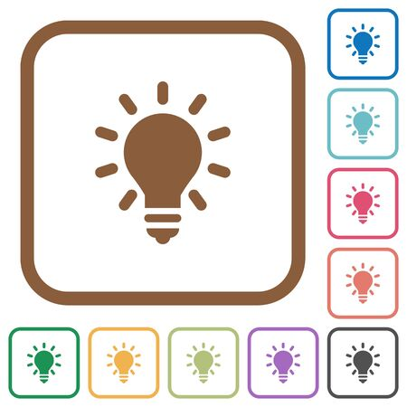 lumen: Lighting bulb simple icons in color rounded square frames on white background Illustration