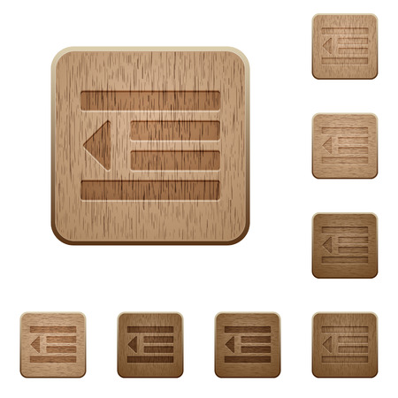 indent: Decrease text indent icons in carved wooden button styles