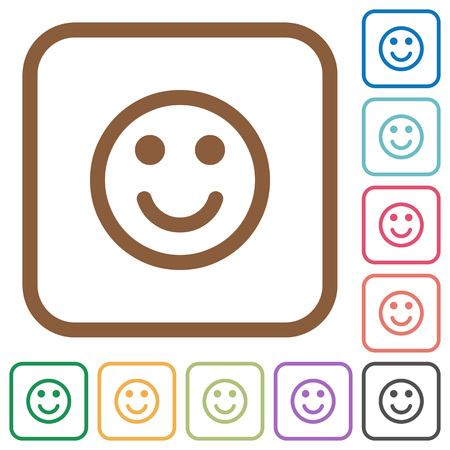 blue face: Smiling emoticon simple icons in color rounded square frames on white background Illustration
