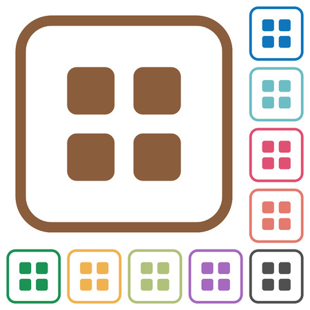 thumbnail: Large thumbnail view simple icons in color rounded square frames on white background Illustration