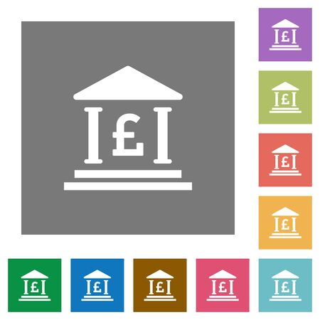 bank office: Pound bank office flat icons on simple color square background.
