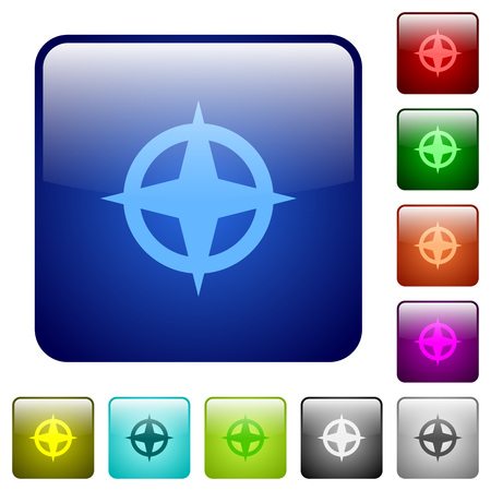 backsight: Map directions color glass rounded square button set