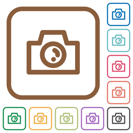 screenshot: Camera simple icons in color rounded square frames on white background