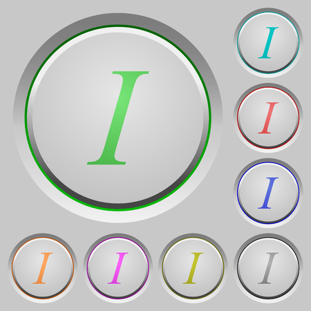 Italic font type color icons on sunk push buttons