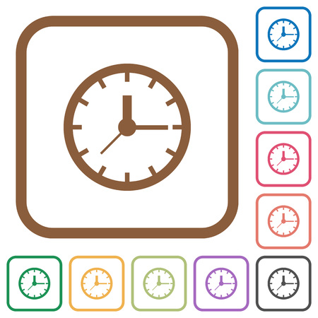 chronograph: Clock simple icons in color rounded square frames on white background